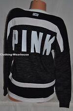 Victoria's Secret PINK Marl Black White LACE UP Varsity Crew Pullover XS XSmall