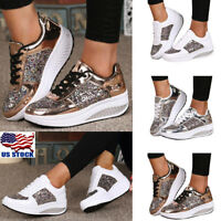 Women's Sequins Athletic Shake Shoes Casual Platform Lace Up Sneakers Size 5-8