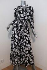 Zara Marilyn Maxi Dress Black/White Floral Print Size Medium Belted Shirtdress