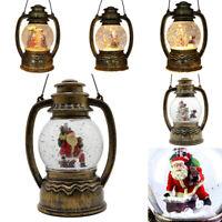 Christmas LED Light Metal Lantern Xmas Snow Santa Water Globe Glitter Confetti