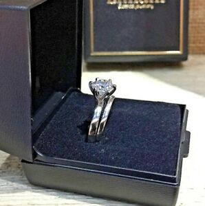Engagement Sterling 925 Silver Ring Set Created Diamond Ring - Gift box