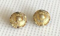 """Vintage Gold Silver Tone Textured Dome Round Clip on Earrings 0.75"""" D"""