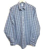 Brooks Brothers 1818 Mens Sz L Shirt Slim Fit Non Iron Blue Plaid Supima Cotton