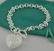 """Fashion Accessories 925Sterling Silver With Zircon Heart Lady's Bracelet 8""""FB79"""