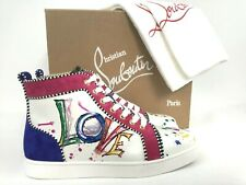Christian Louboutin Love White Leather Graphic High Top Sneaker 39/9