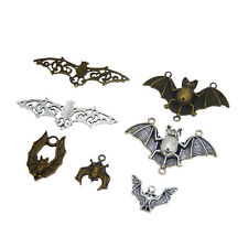 Pack of 7 Vintage Bat Look Metal Alloy Charms Pendants Mix Crafts Accessories
