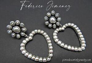 FEDERICO JIMENEZ-Tender-Graceful-Romantic-Pearl Cluster HEART 925 Earrings-2-1/2