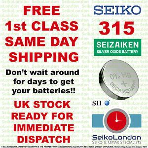 1X Seiko Seizaiken 315 SR716SW SR67 SR716 SB-AT 1.55v Cell FREE 1st class post
