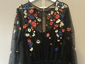 oasis dress size 18. Floral Embroidered Black Lace . Worn Once