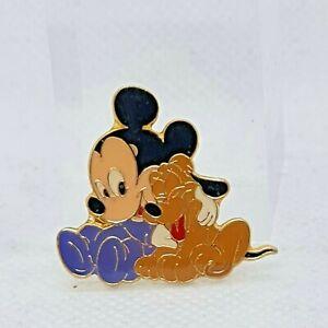 Disney Babies Mickey Mouse And Pluto Enamel Metal Pin Badge