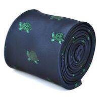 Frederick Thomas Designer Mens Tie - Dark Navy Blue - Embroidered Green Turtle