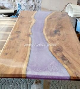 Pink Resin River Dining Conference Table Top Wooden Handmade Live Edge Art Décor