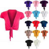 Womens Tie Up Front Cap Sleeve Bolero Colour Shrug Cardigan Wrap Ladies Top 8-14