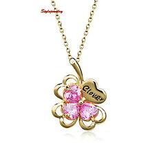 18k Gold Plated Pink Crystal Four Leaf Clover Birthstone Necklace N278