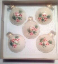"Kurt S Adler GLASS 2 1/2"" Christmas Ornament SET White with painted Holy berries"