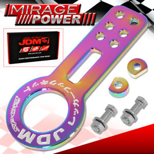 For BMW Mercedes Aluminum Anodized Neochrome Front Bumper Tow Hook Kit JDM Sport