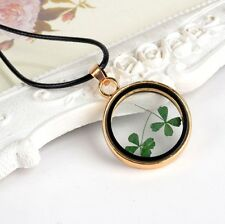 Lucky Four Leaf Clover Dried Flower Pendant Necklace St Patrick Shamrock Gift