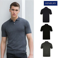 Henbury Knitted Men's Short Sleeve Polo H716 - Casual Collared Fitted T-Shirt