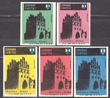 POLAND 1965 Matchbox Label - Cat.Z#621 set, Protect the monuments, Brodnica Gate