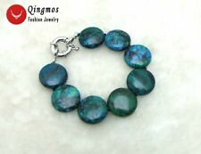 "GENUINE Natural 25mm Coin Round Chrysocolla 8"" Bracelet for Women Jewelry 190"