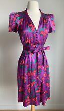Betsey Johnson Dress 6 Small Medium SILK Purple Pink Rose Cup of Coffee Belt 40s