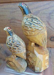 VTG American Folk Art Carving Prairie Hen Chicken Grouse Rustic Bird Sculpture