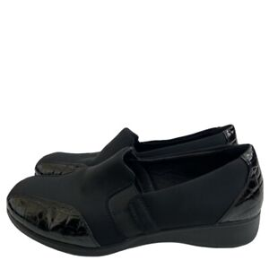 CLARKS NOREEN WILL Slip on Loafer Suede Croc Embossed Patent Leather Sz 12M