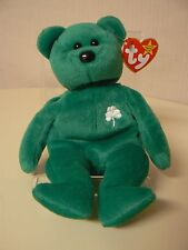 Ty Beanie Baby ERIN Plush Green St. Patrick's Bear with Clover on Chest Original
