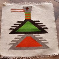 """Native American Vintage Roadrrunner woven TAPESTRY wool small  15"""" x 15"""""""