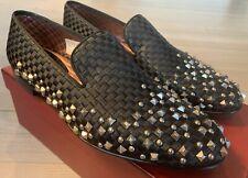 $1,200 Bally Baldar Black Silk Loafers Studs Size US 11.5 Made in Switzerland