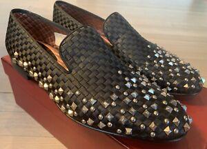 1,200$ Bally Baldar Black Silk Loafers Studs Size US 10 Made in Switzerland