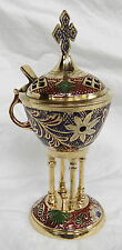 Large Engraved and Enamelled Brass Charcoal Incense Burner & Frankincense
