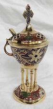 Large Engraved and Enamelled Brass Charcoal Incense Burner