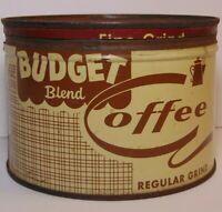 Vtg 1950s BUDGET RICHHEIMER COFFEE KEYWIND COFFEE TIN 1 POUND CHICAGO ILLINOIS