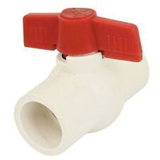 32mm x 32mm Slip Ends Two Way Ports PVC Ball Valve White Red O6W2