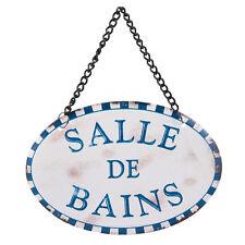 plaque de porte ovale métal décoration salle de bain damier bleu rétro vintage