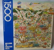 """SPRINGBOK Welcome To Fracture Falls Jigsaw Puzzle 1500 Ski Vintage USA 33"""" x 26"""""""