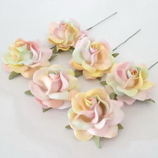 25 Pastel Rainbow Paper Flowers Wedding Party Headpiece Card Decoration R77-PT