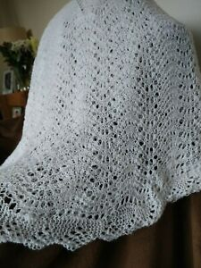 hand knitted white  traditional circular lace baby shawl new.