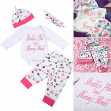 4PCS Newborn Baby Girl Outfits Clothes Romper Bodysuit+Floral Pants Leggings Set