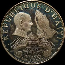 Haiti 50 Gourdes 1975 Holy Year Silver Proof Toned Big coin low mintage rare
