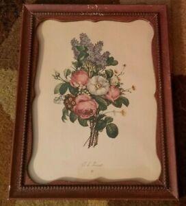 Jean Louis JL Prevost Botanical Flower Print Wood Framed Floral Bouquet Vintage