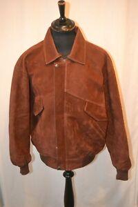 Vintage brown suede bomber jacket elastic cuff & waist band size XXL