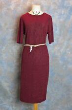 Burgundy Dress with Gold Sparkle & Stretch - Size 16 - Free Gold Belt