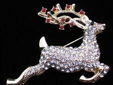 NIB MONET GOLD CHRISTMAS RUDOLPH JUMPING FLYING REINDEER PIN BROOCH JEWELRY 2.25