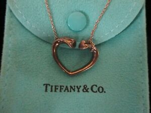 """Tiffany & Co Paloma Picasso Open Heart Pendant Necklace 16"""" Long"""