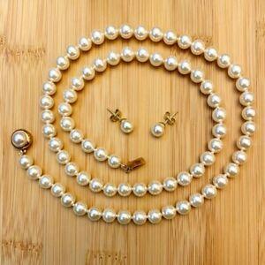 """Genuine Majorica Pearl Necklace 24"""" & Pearl Stud Earrings"""