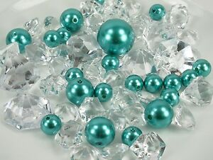 60 Assorted Pearls & Acrylic Gems Table Scatter Vase Decoration CHOOSE COLOR