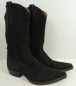 RIOS OF MERCEDES Western Men's Black Suede Leather Boots Size 9 D