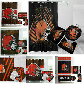 Cleveland Browns Bathroom Rugs Set 4PCS Shower Curtain Non-Slip Toilet Lid Cover